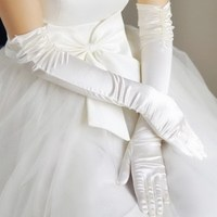 Long Section Folds Hand Sewn Beads Wedding Yarn Stretch Satin Bride Gloves