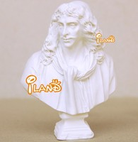 Mini resin statue Moliere statue bust for doll house white educational toys HO028E