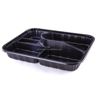 KW3-1104 Wholesale Japanese Eco Friendly 5 Compartment Disposable Custom Print Take Away Food Storage Bento Lunch Box Container
