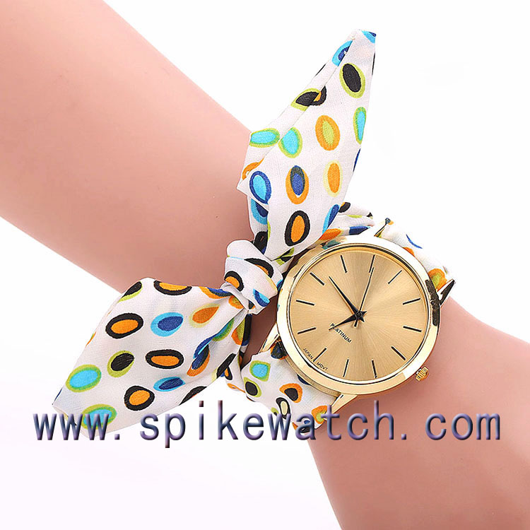 New Fashion Ladies Ribbon Watch Floral Fabric Cloth Band Watch