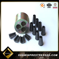 Pre-stressing concrete block wedge anchors
