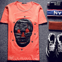 MS70005G korea style two color skull embroidered men summer t-shirts