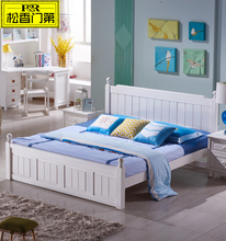 White Color Pine Wood King Size Bed