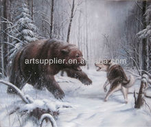 Handmade wild animal oil painting on canvas,Bear Fighting with Wolf in the snow Field