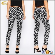 OEM wholesale High-rise waist Side zip Skinny Pants in Downtown Grid Print zumba cargo pants
