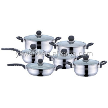 2017 Hot Selling Stainless Steel 12pcs Cook Ware Set Belly Shape Kitchen Cookware
