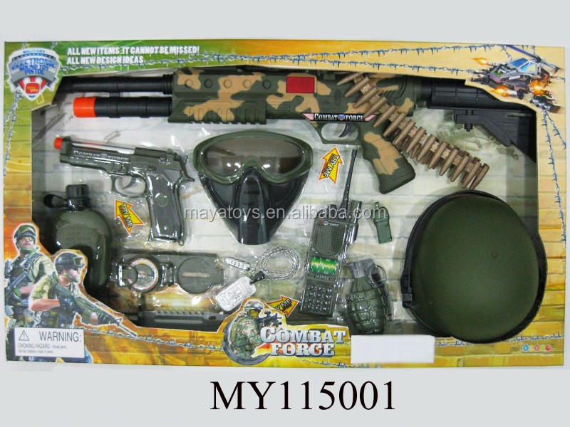 Cool plastic simulative military toys play set can dress up for boy include gun service cap and hand grenade