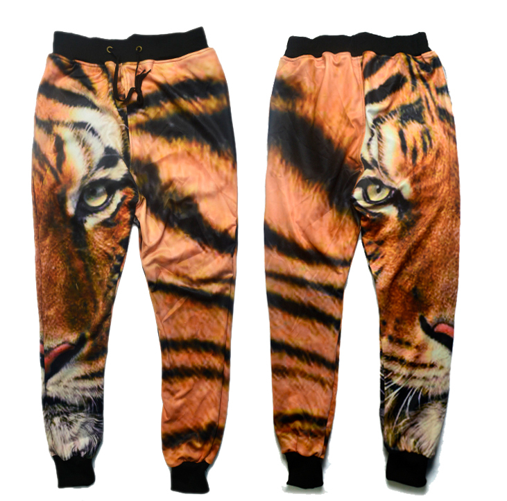 Alisister 2015 New fashion men/women's sport jogging pants print tiger skinny sweatpants hip hop joggers trousers running pants