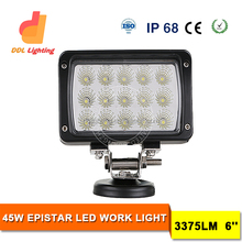 Auto Part , 2016 New 6 Inch square 45w LED Driving Working light for Truck Offroad Mining Forest Car