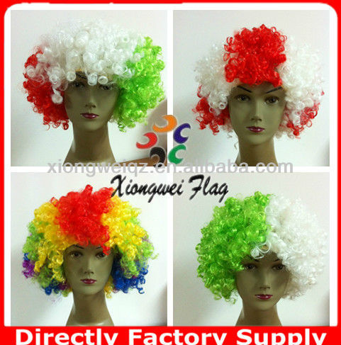 2014 world cup Brazil crazy football sports fan wigs&hairpiece