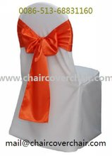 Plain polyester chair cover with satin sash