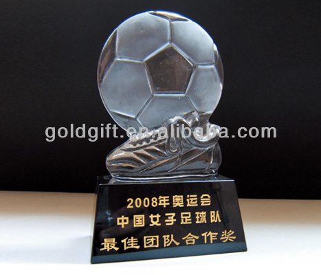 football match crystal trophy with black crystal base