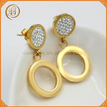 Fashionable crystal circle pandent gold earrings jewels for wholesale