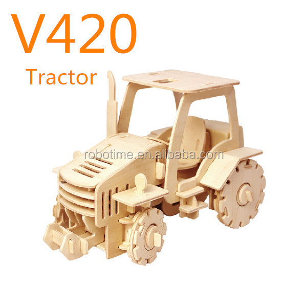 Intelligent wooden toy tractor