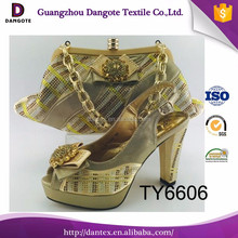 New coming ladies shoes and bags wedding shoes and bag to match italian shoes and bag set TY6606 in gold