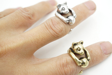 2016 Vintage Silver and bronze Hippie Knuckle Rolling Ball Cat 925 sterling silver animal rings
