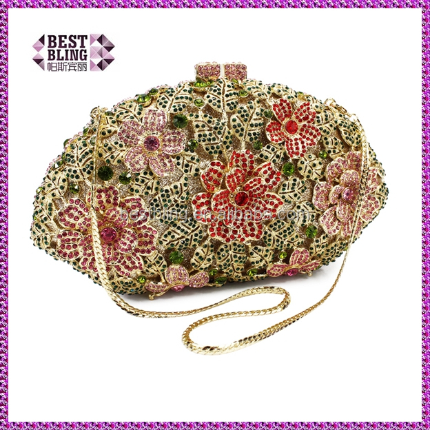 rose pattern indian clutch purses wholesale stone clasp clutch bags (88157A-GP)