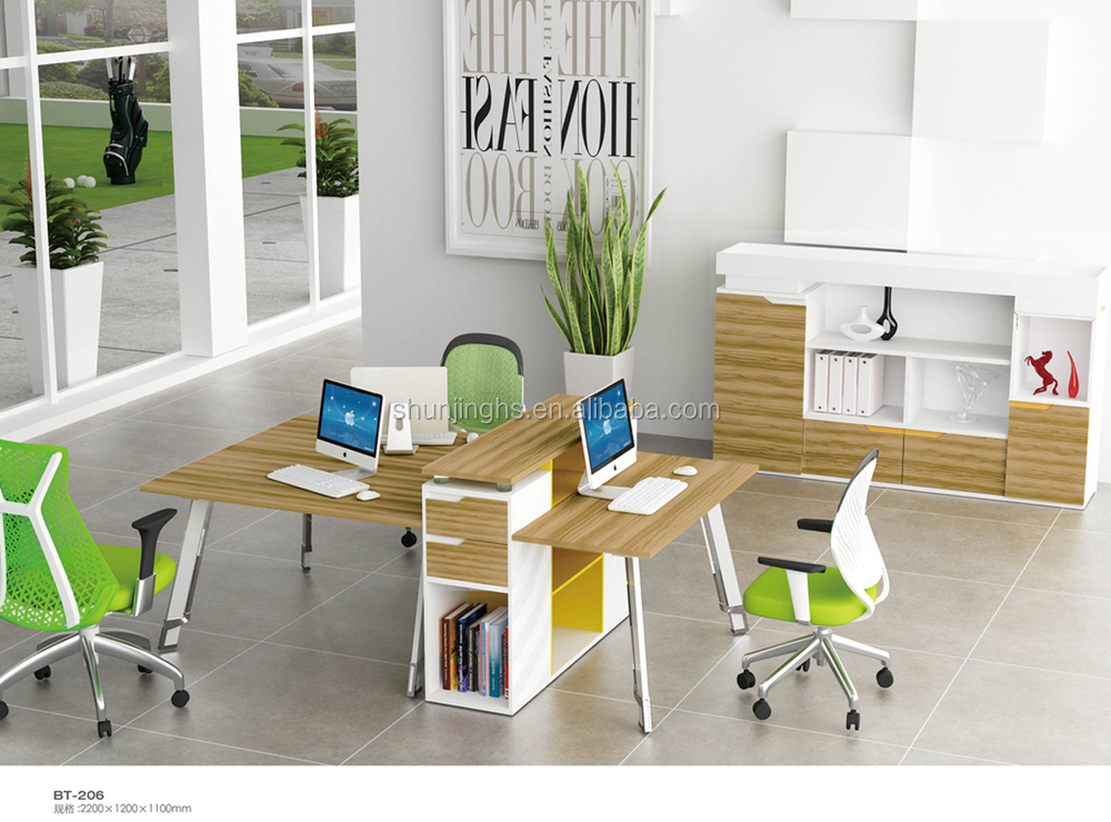 BT-206 Coffee Walnut Steel Frame Wooden Office Workstation for Three Person