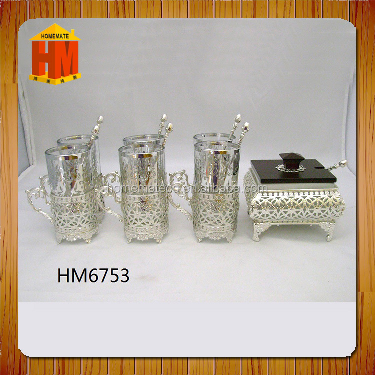 glass coffee cup set with iron silver plated sugar pot and spoons and tray/ islamic wedding gifts / guangzhou silver iems
