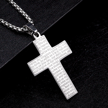 Stainless Steel Cross Bible Printing Serenity Prayer Gold Pendant Necklaces Designs For Men& Women