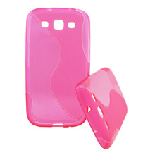 S-type pattern pink translucent TPU mobile phone case for Samsung galaxy S3