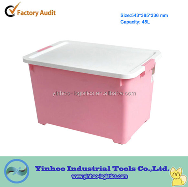 transparent plastic container for cargo storing and moving with wheels