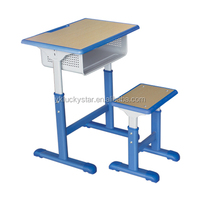 Adjustable Wooden School Desk and Stool/School Furniture/Desk and Chair set