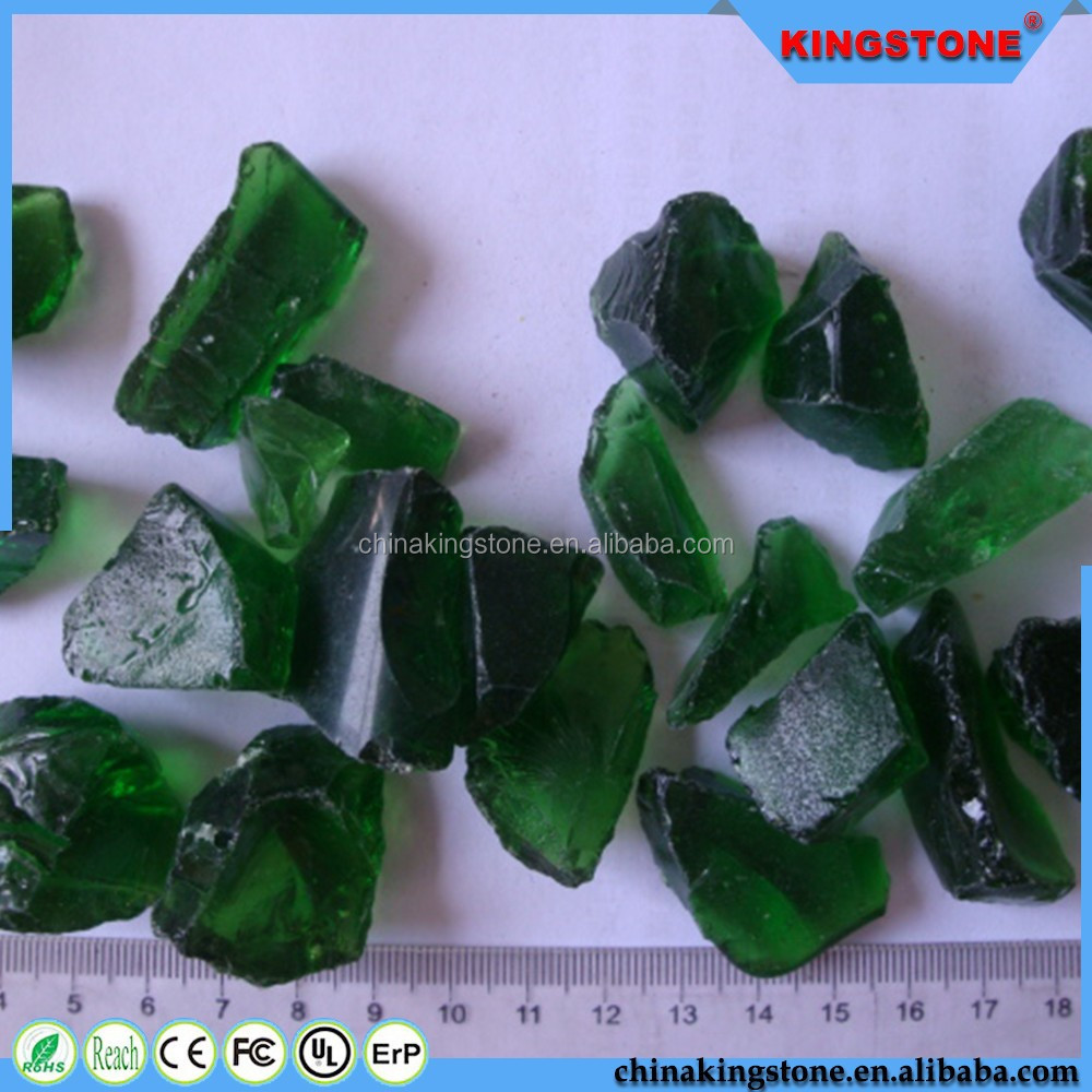 Drak green color landscaping glass boulders for sale
