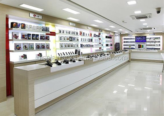 Mobile phone shop interior design with display showcase OEM