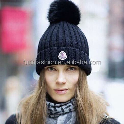 Winter Wool Beanie Hat with Raccoon Fur Pom pom for Women