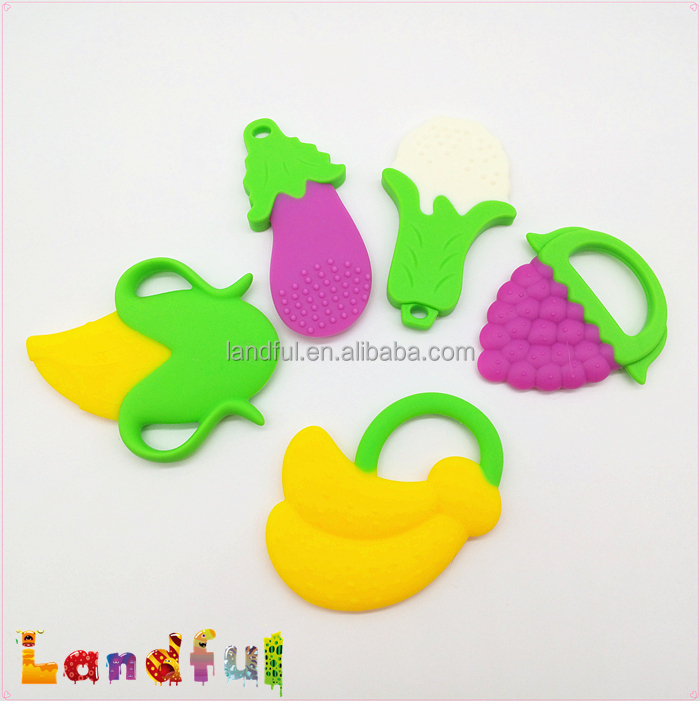 BPA Free Flexible Silicone Vegetable Baby Relief Toy Jelly Baby Finger Teether