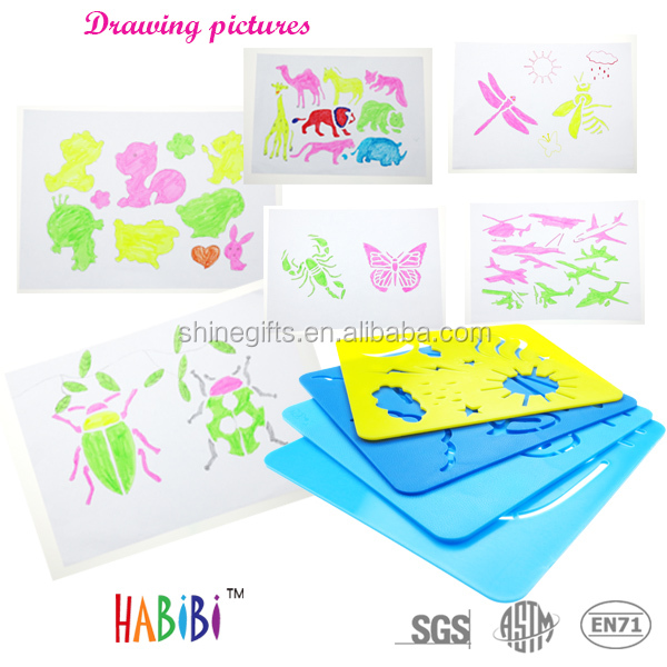 Colorful fashion sketch stencil for kids