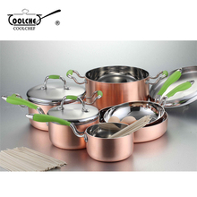 9pcs Stainless Steel Copper Bottom Cookware Set Casserole Saucepan Skillet Fry Pan