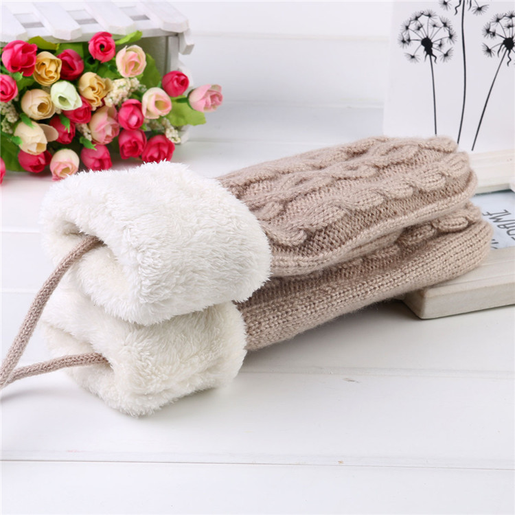 Winter thick Knitted arcylic Lined Ski Winter Mitten gloves