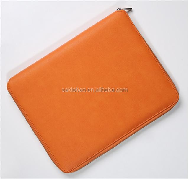 Customer Unique Design File Holder/Portfolio,Multi-function Leather Handmade Organizer With stock bag/solar calculator