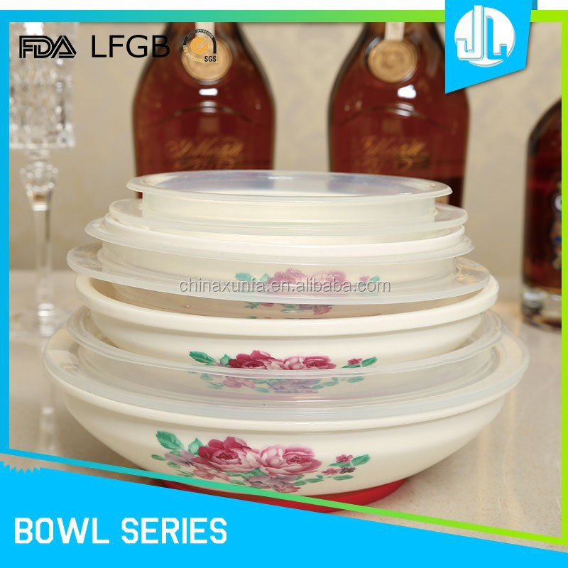 Fashion design flower printed silicon lids wholesale ceramic bowl