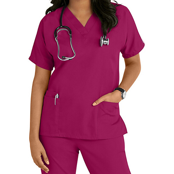 Fashionable Nurse Uniform Wine Red Cheap wholesale hospital uniform