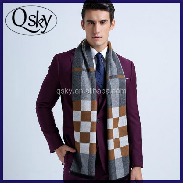 Yiwu Market winter Geometry custom made men italian wool scarves