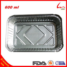 600ml Disposable Food Grade Oblong Food Storage Aluminum Foil Lunch Trays