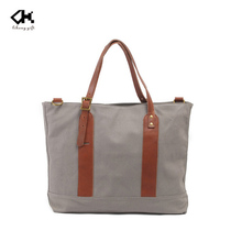 2016The latest Designer Washed Canvas Tote Bag Satchel with genuine trim
