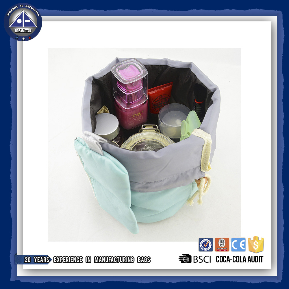 Travel Kit Organizer Bathroom Storage Cosmetic Bag, Portable Drawstring Toiletry Compartment Carry Pouch Case