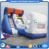 Best quality wave slides inflatable bouncy castle combo slide for kids play equipment