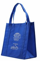 Long handle blue color recyclable shopping big size non woven bag