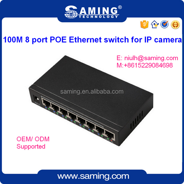 8 port 10/100Mbps POE ethernet switch for IP camera 48V