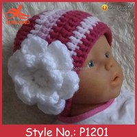 P1201 fashion cute colorful hand knitted newborn baby hats for girls