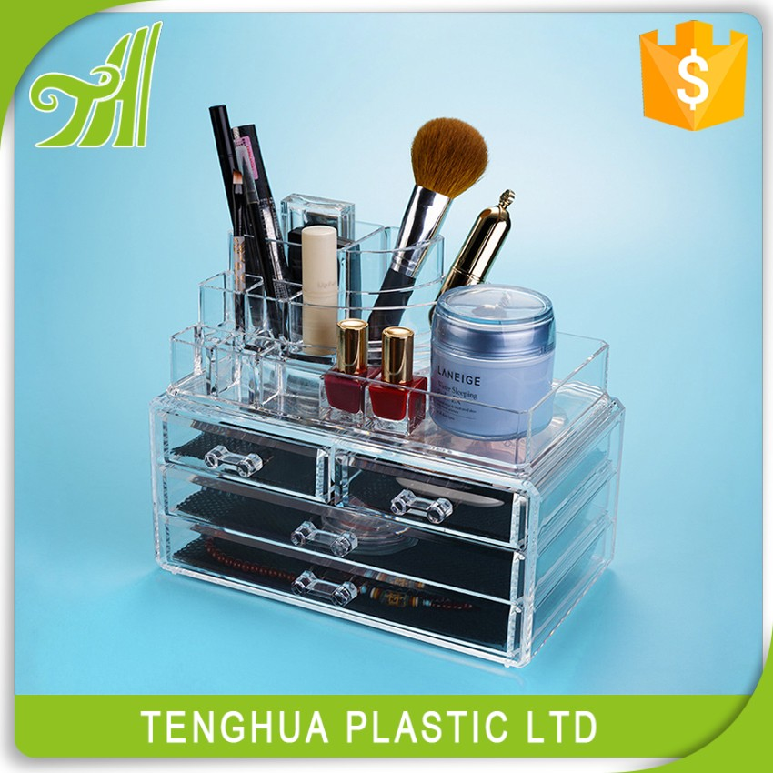 wholesale acrylic makeup organizer with drawers storage box