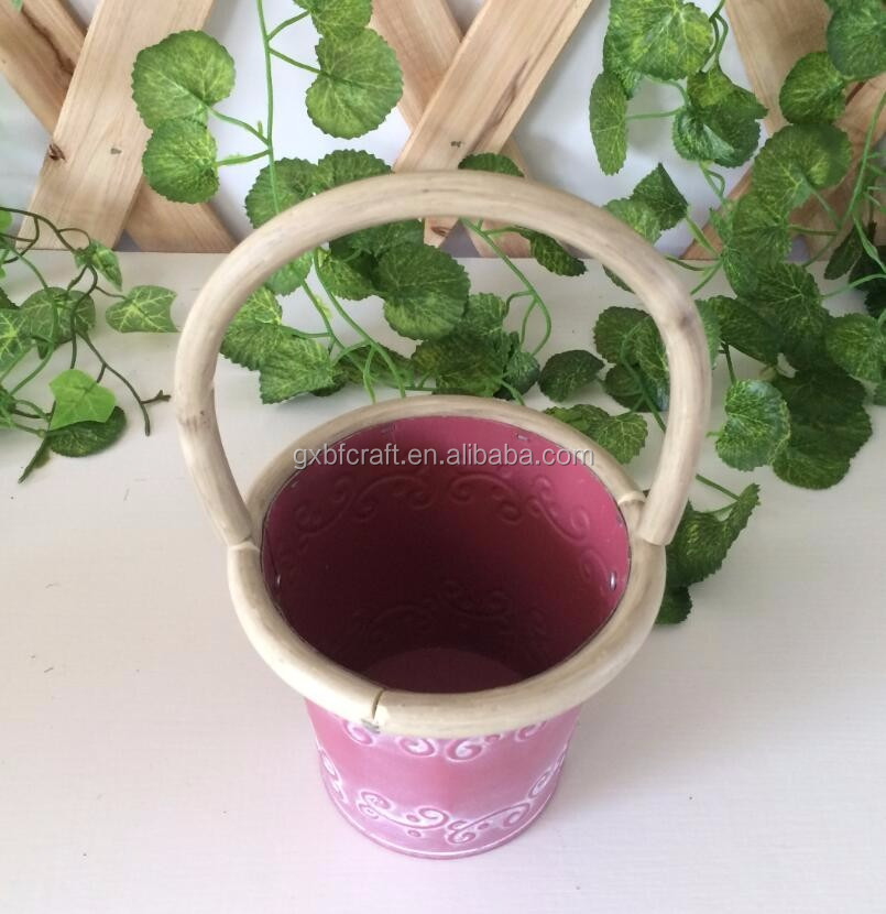 Hot sale pink color metal flower pot with handle and emboss