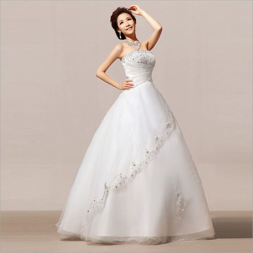 Newest Style Satin And Tulle Appliqued Elegant Ball Gown Simple Wedding Bridal dress