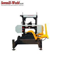 diesel portable horizontal band saw with hydraulic log loading arm