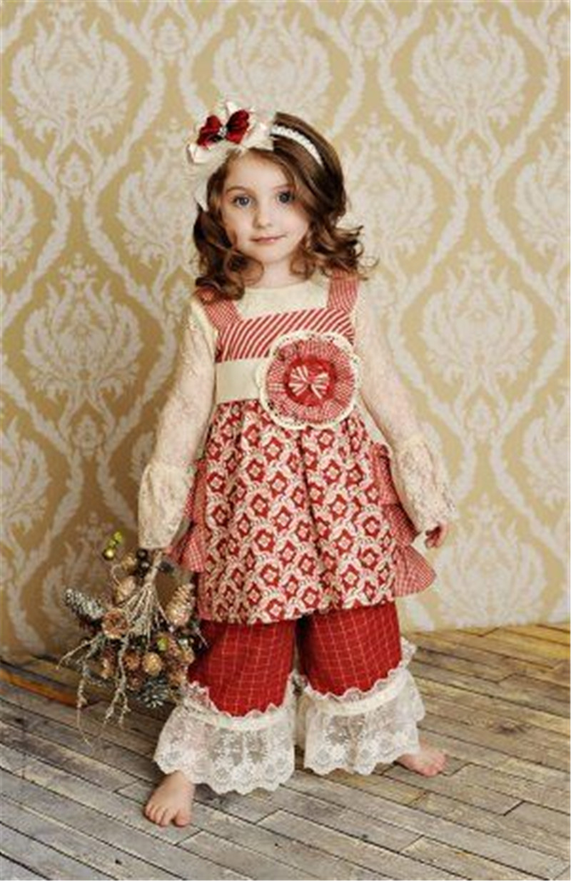 new christmas wavy line ruffle pants design little girls boutique sets